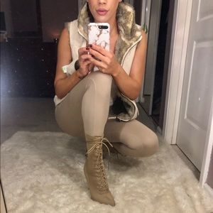 PRETTY LITTLE THING LACE UP BOOTS NUDE SIZE 8